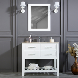 "FAWIO 56"" WHITE BATHROOM VANITY"