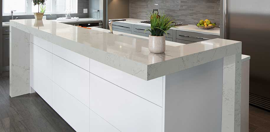 Alabaster White Quartz Countertop Kitchen Cabinets