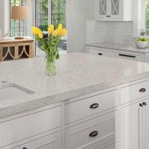 Carrara Mist Quartz Countertop Kitchen Cabinets Amp Tiles