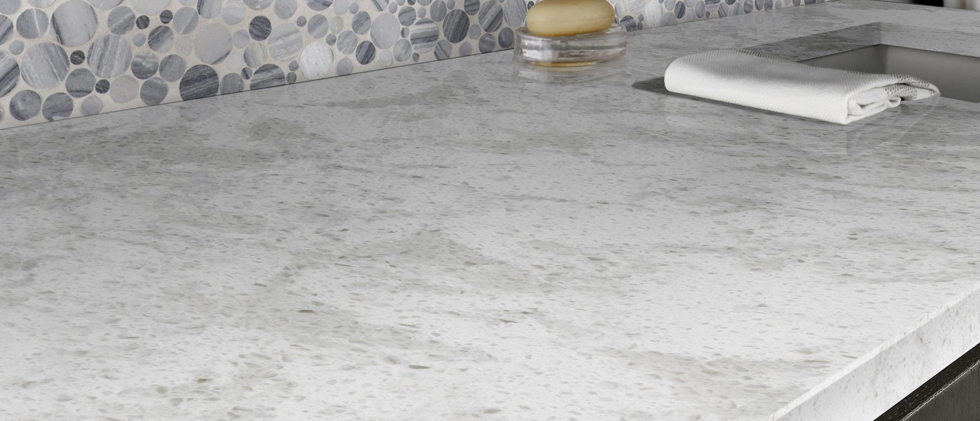 Pelican White Quartz Countertop Kitchen Cabinets Amp Tiles
