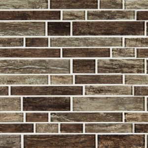 Antico Pewter Interlocking Pattern 8mm Glass Backsplash Tile