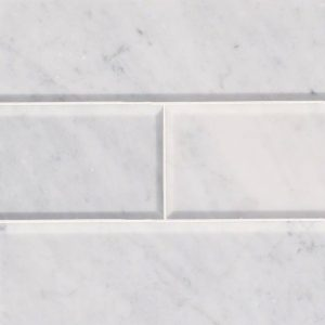 Arabescato Carrara 4x12 Honed and Big Beveled Subway Tile Backsplash