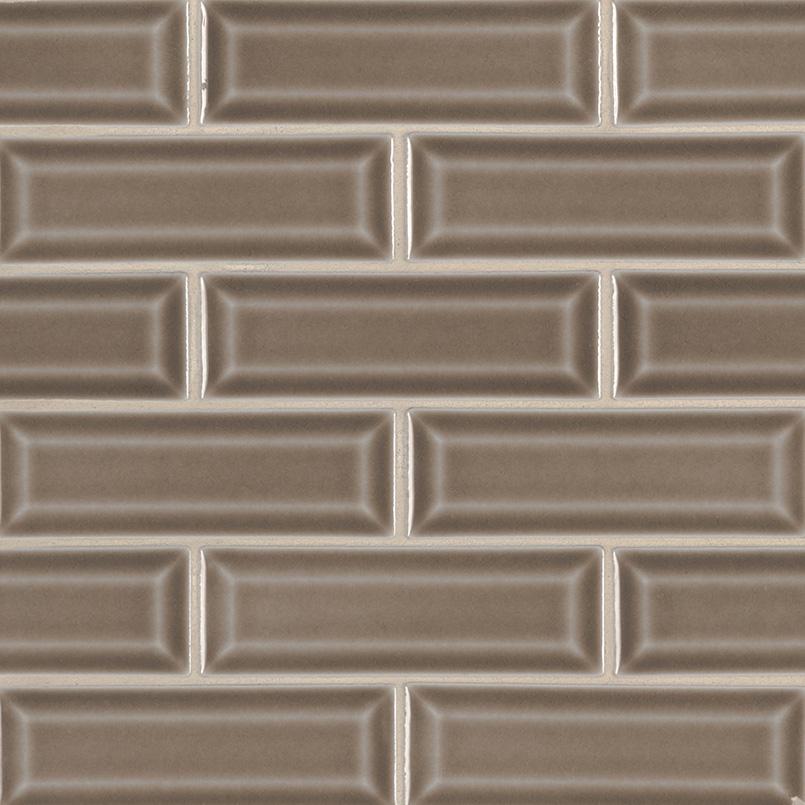 Artisan Taupe 2x6 Beveled Subway Tile Kitchen Cabinets
