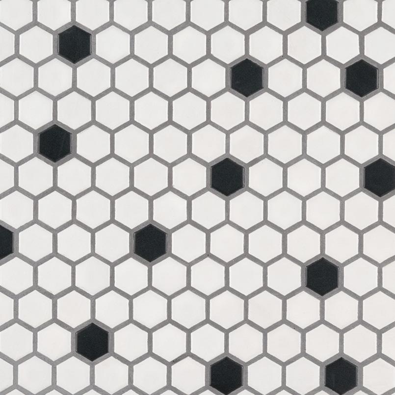 Black And White Hexagon Matte Backsplash Tile Kitchen
