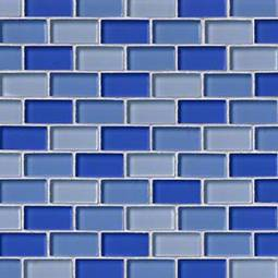 BLUE BLEND BRICK GLASS 1X2X8MM Glass Tile