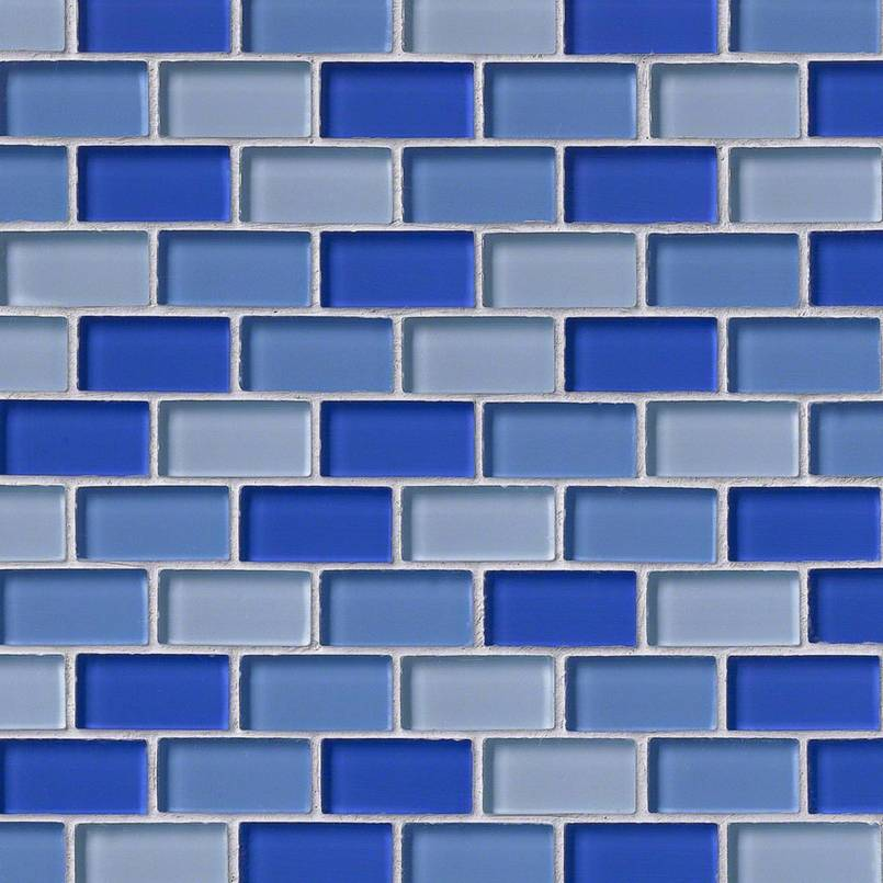 Blue Blend Brick Glass 1x2x8mm Glass Backsplash Tile