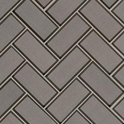 Champagne Bevel Herringbone Glass Tile