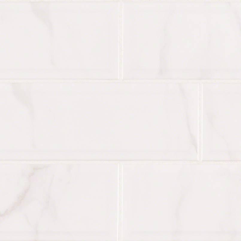 Classique White Carrara Glossy 4x16 Bev Kitchen Cabinets