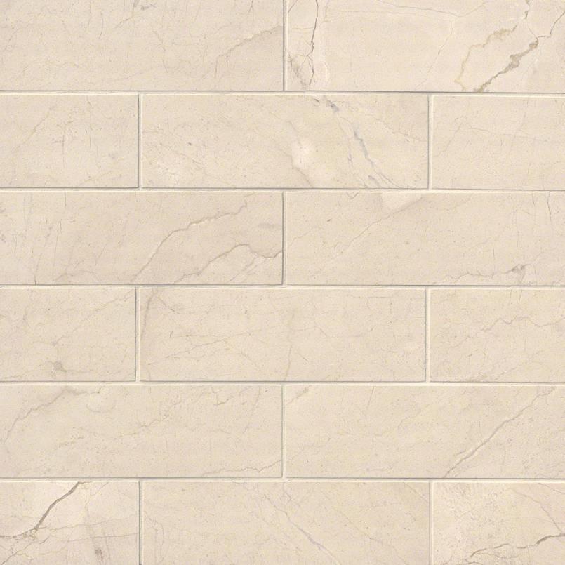 Crema Marfil Subway Tile Polished 4x12 Kitchen Cabinets