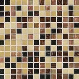 Desert Sunset Opaque/Iridescent Glass 3/4x3/4x4MM in 12x12 Mesh Glass Tile