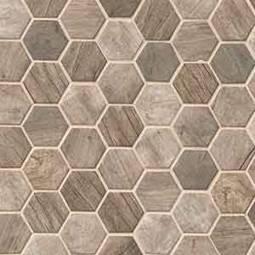 Driftwood Hexagon Glass Tile