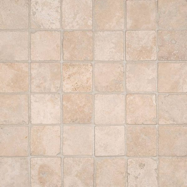 Durango Cream 2x2 Tumbled in 12x12 Mesh