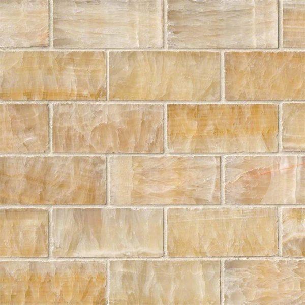 Giallo Crystal Onyx Subway Tile 2x4
