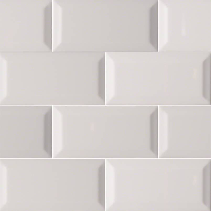 Gray Glossy Subway Tile Beveled 3x6 Kitchen Cabinets