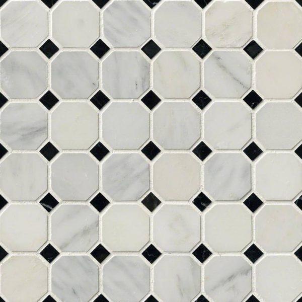 Greecian White Octagon Backsplash Tile