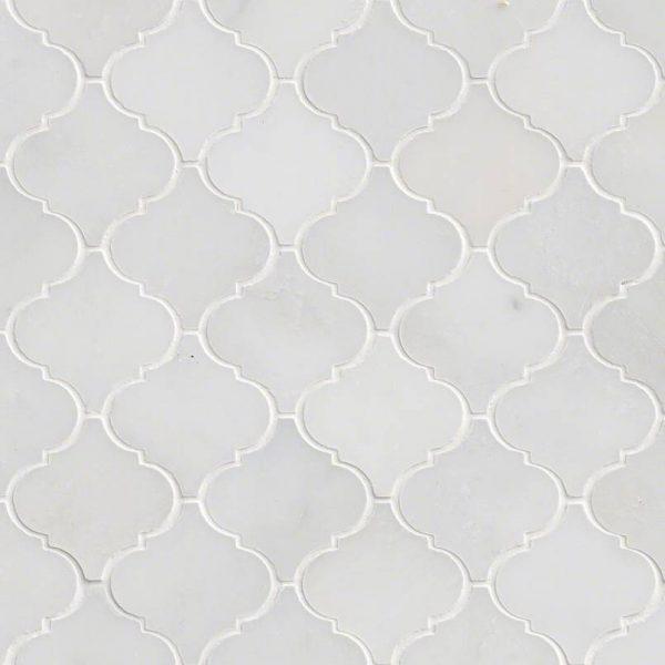 Greecian White Arabesque Pattern Polished Backsplash Tile