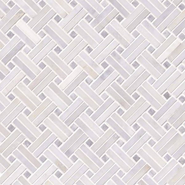 Greecian White Basketweave Pattern-2 Polished Tile