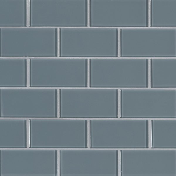 Harbor Gray Subway 2x4x8mm Glass Backsplash Tile