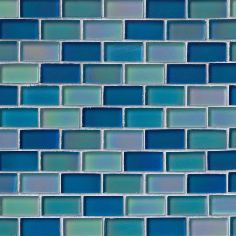 Iridescent Blue Blend Glass Brick Pattern Pool Backsplash