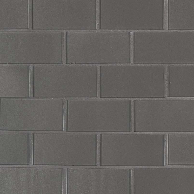 Metallic Gray Subway 2x4x8mm Glass Backsplash Tile