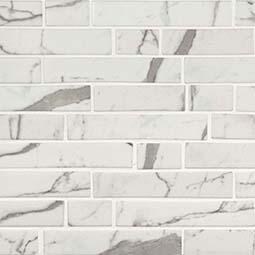 Statuario Celano Interlocking 6mm Glass Backsplash Tile