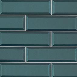 Verde Azul 2.5x8x8mm Beveled Glass Backsplash Tile