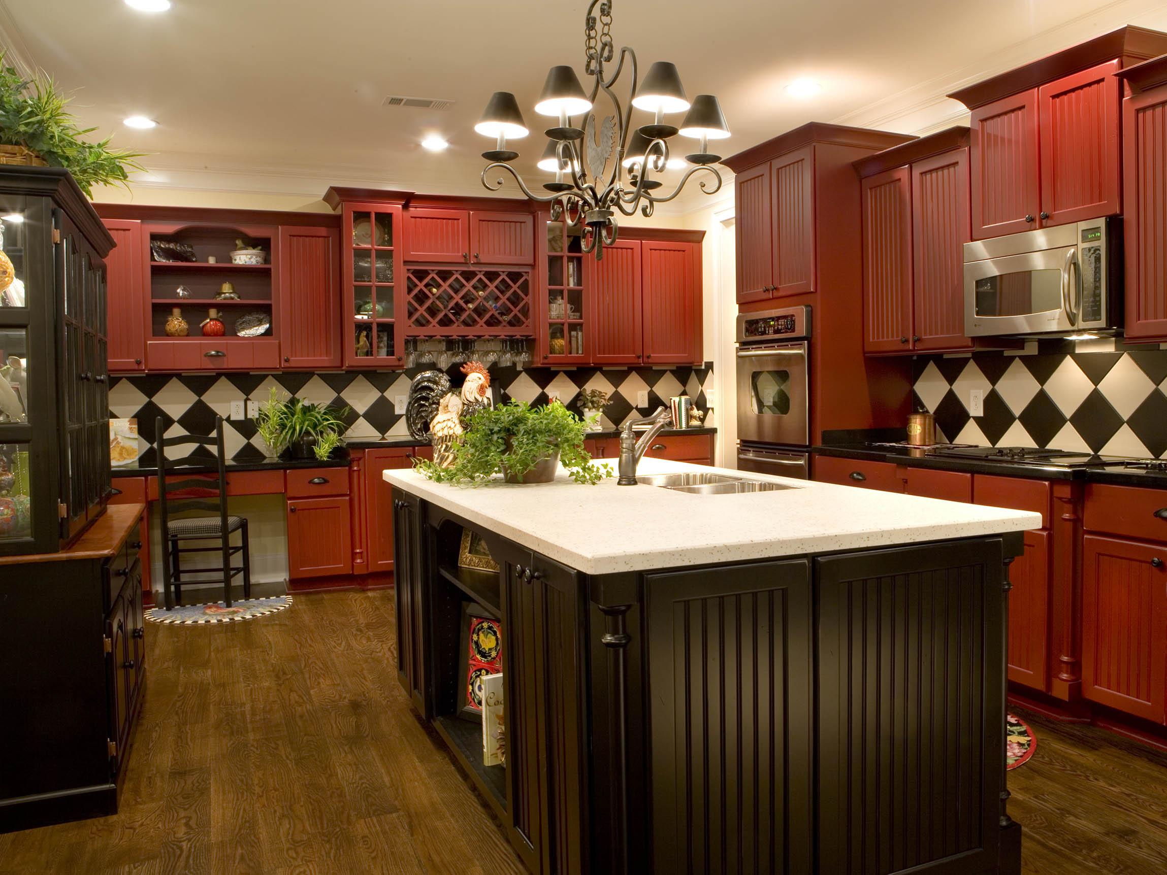 Brick Red On Maple Full Overlay Using Beaded Century Panel Door Kitchen Cabinets Tiles Nj Art Of Kitchen Tile